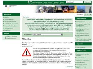 Das Bundeszentralamt für Steuern warnt! (Screenshot/bzst.de)