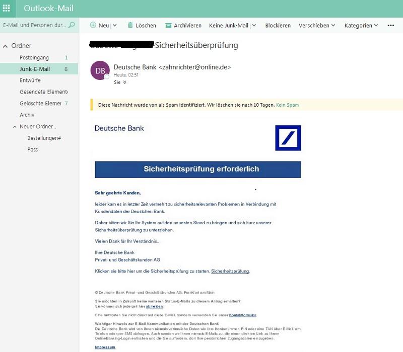 German Bank Account Info: Deutsche-Bank-Phishing: Sicherheitsüberprüfung