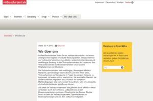 Die echte Verbraucherzentrale (Screenshot: verbraucherzentrale.de)