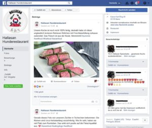 Fake-News: Hunderestaurant Hallasan (Screenshot: Facebook.com)