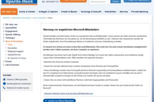 Falsche Microsoft-Mitarbeiter: Sparda Bank warnt