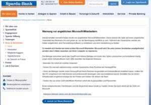 Falsche Microsoft-Mitarbeiter (Screenshot: sparda-bank-hamburg.de)