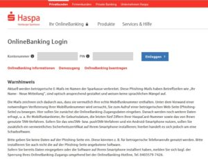 HASPA warnt vor gut gemachten Phishing-Mails (Screenshot: Haspa.de)