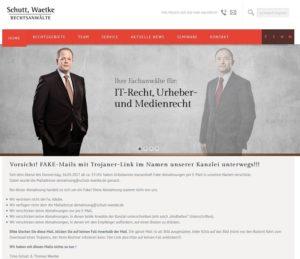Kanzlei Schutt-Waetke: Fake-Abmahnungen per Mail (Screenshot schutt-waetke.de)