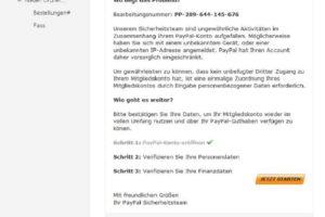 """PayPal-Phishing: """"Einführung neuer Technologien"""""""