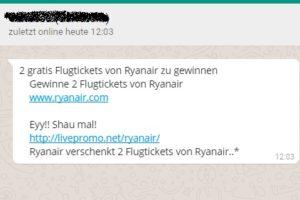 Abofalle durch WhatsApp-Ryanair-Gewinnspiel