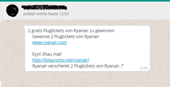 WhatsApp-Ryanair-Gewinnspiel ist eine Falle