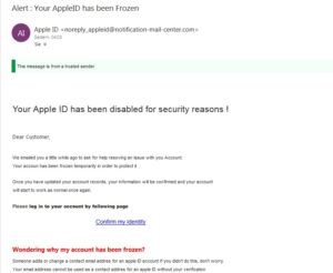 "Apple-Phishing: ""Your AppleID has been Frozen"""