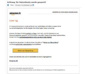 amazon phishing nutzerkonto daten berpr fen oder 49 95. Black Bedroom Furniture Sets. Home Design Ideas