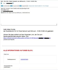 dhl sendungsbenachrichtigung ihr dhl paket kommt am fake anti spam info. Black Bedroom Furniture Sets. Home Design Ideas