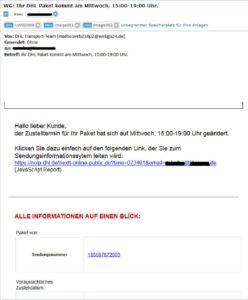Achtung, Virus hinter Virus hinter Benachrichtigung für DHL-Paket-Benachrichtigung