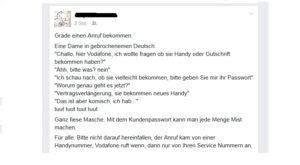 Fake-Vodafone-Werbeanrufe (Screenshot: Facebook)