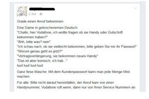 Fake-Vodafone-Werbeanrufe: Schützen Sie Ihr Kundenkennwort!