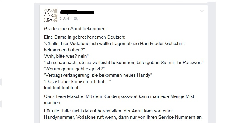 Fake-Vodafone-Werbeanrufe (Screenshot: Facebook)