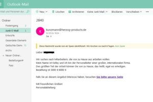 Job-Spam: 3000 € – 6000 € für Home-Job?!