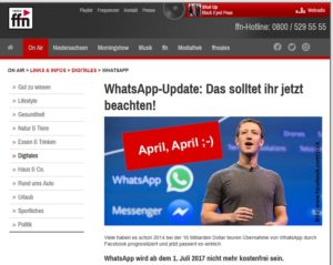 WhatsApp-Abo ab Juli (Screenshot FB-Seite radio ffn)