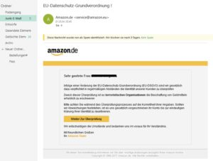 Amazon EU-Datenschutz-Grundverordnung (Screenshot: outlook.live.com)