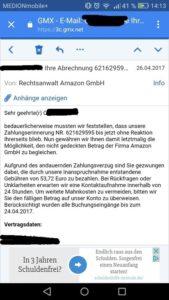 Amazon-Inkasso-Drohung (Sceenshot: Gmx-App)