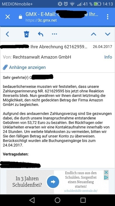Amazon Inkasso Drohung Ist Ein Virus Anti Spam Info