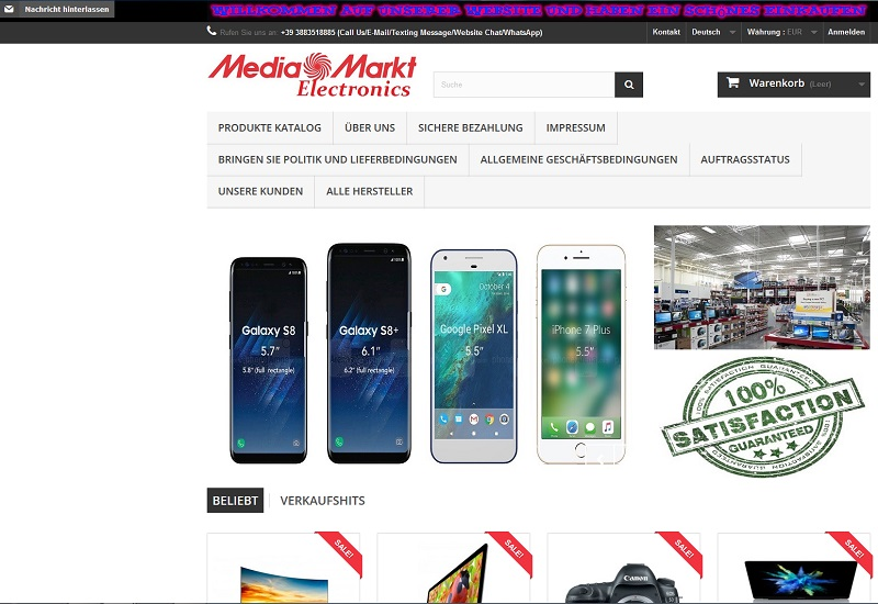 Fake-Shop mediamarktelectronics (Screenshot mediamarktelectronics.com)