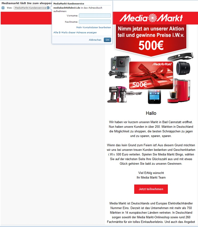 spam media markt gewinnspiel mediamarkt l dt sie zum. Black Bedroom Furniture Sets. Home Design Ideas