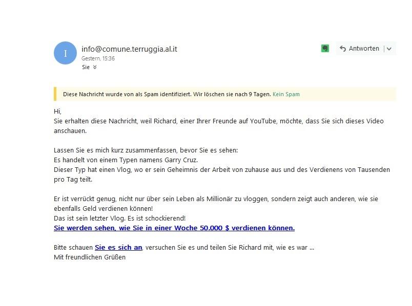 Pattern Trading = Unseriöse binäre Optionen (Screenshot: E-Mail)