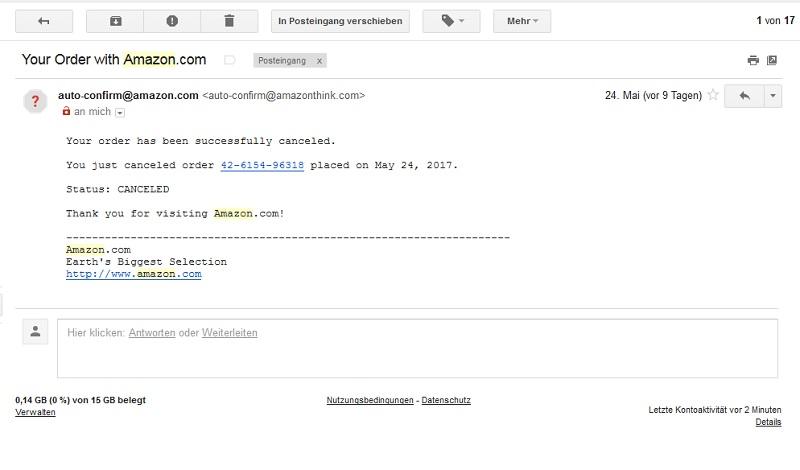 Amazon-Fake (Screenshot: Googlemail)