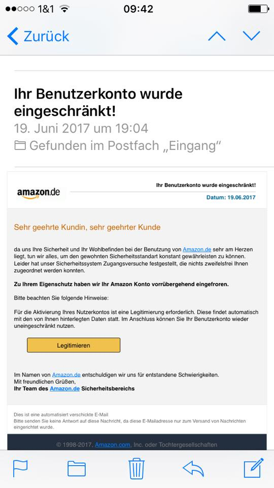 Amazon-Phishing im Umlauf (Screenshot)