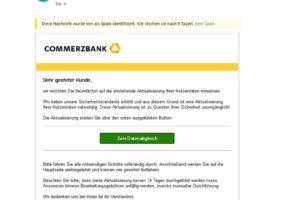 """Commerzbank-Phishing: """"Anstehende Aktualisierung Ihrer Nutzerdaten…"""""""