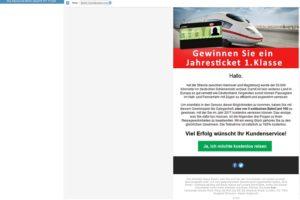 Deutsche-Bahn-Spam-Gewinnspiel: Deutsche Bank bezahlt Ihr Ticket
