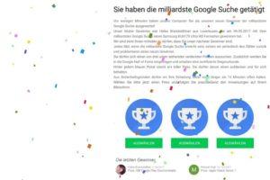 Die milliardste Google Suche – Achtung, Datensammler!