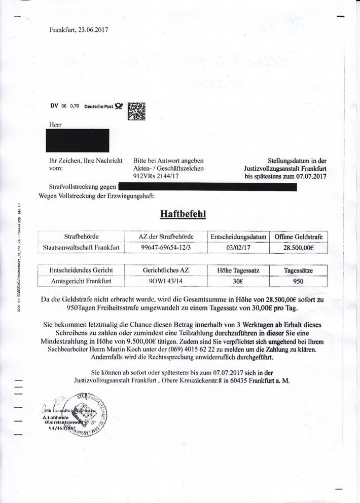 Fake-Haftbefehl (Quelle: Polizei Hildesheim)