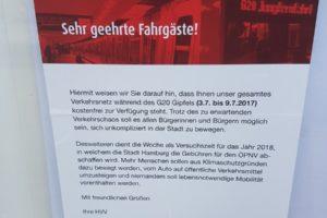 Kostenlose Öffis in Hamburg zum G20-Gipfel? Nein!
