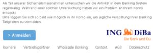 Achtung, das ist ING DiBa Phishing! (Quelle: Screenshot)