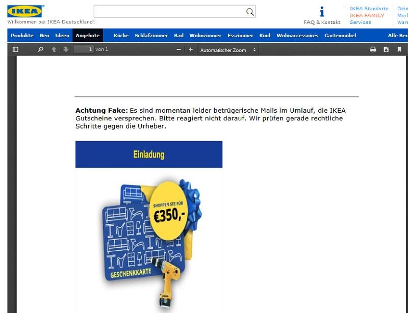 Offizielle Warnung vor Ikea-Gewinnspiel (Screenshot: Ikea.de)