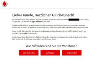 Unseriöses Vodafone-Gewinnspiel (Quelle: Screenshot)