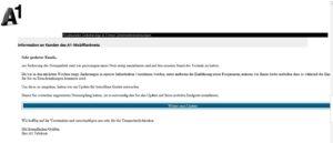 """Achtung, Virus: """"Information an Kunden des A1-Mobilfunknetz"""" (Quelle: A1.net)"""