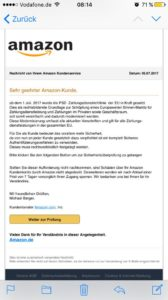 Mal wieder Amazon-Phishing (Screenshot)