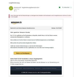 """Amazon-Phishing: """"Der § 42-42a verpflichtet uns Ihre Kundendaten zu überprüfen"""" (Quelle: Screenshot Outlook)"""