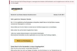"""Amazon-Phishing: """"Der § 42-42a verpflichtet uns Ihre Kundendaten zu überprüfen"""""""