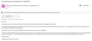 DirectPay GmbH Virus (Screenshot)