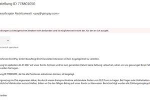 """Virus von DirectPay GmbH: """"Ihre Rechnung zur Bestellung ID 778801050"""""""