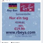 Facebook: Billige Ray-Ban-Sonnenbrillen auf rbeya.com?