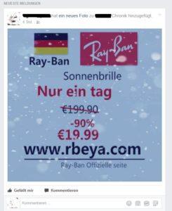 Billige Ray-Ban-Sonnenbrillen auf rbeya.com? (Quelle: Facebook)