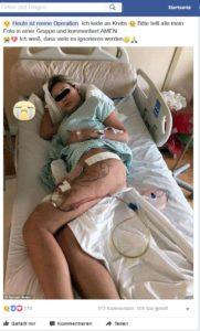 """""""Heute ist meine Operation. Ich leide an Krebs"""" (Quelle: Facebook)"""
