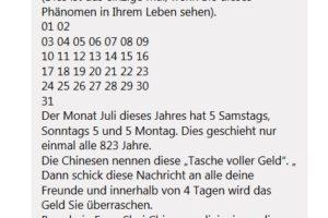 Kettenbrief-Spam: 5 Samstage, Sonntage und Montage