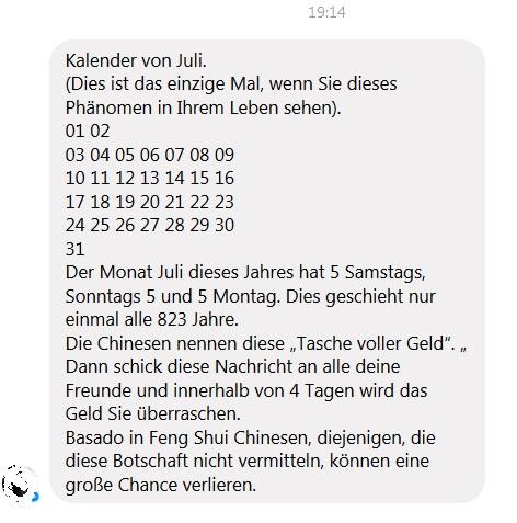 Kettenbrief-Spam: 5 Samstage, Sonntage und Montage (Quelle: Screenshot)