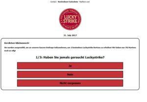 Lucky Strike Gewinnspiel (Quelle: Screenshot)