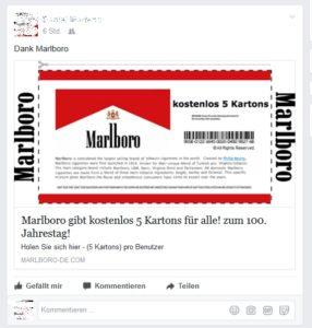Malboro-Gewinnspiel (Screenshot: Facebook)