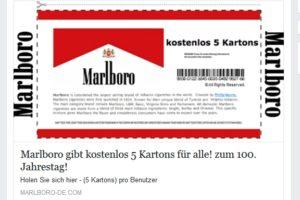 Malboro-Gewinnspiel: 5 kostenlose Marlboro Kartons